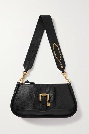 Lesly Embellished Textured-leather Shoulder Bag - Black