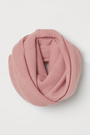 Knit Tube Scarf - Pink