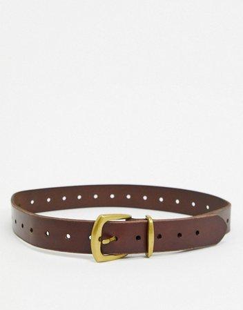Topshop leather belt in in brown | ASOS