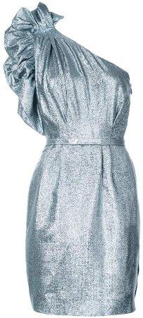 one-shoulder belted dress