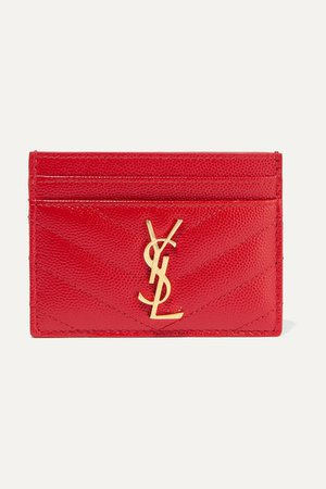 SAINT LAURENT | Quilted textured-leather cardholder | NET-A-PORTER.COM