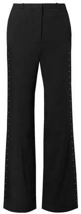 Embellished Stretch-crepe Flared Pants