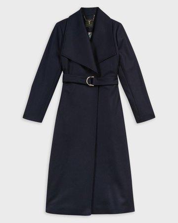 Oversized collar long coat - Navy   Jackets and Coats   Ted Baker UK