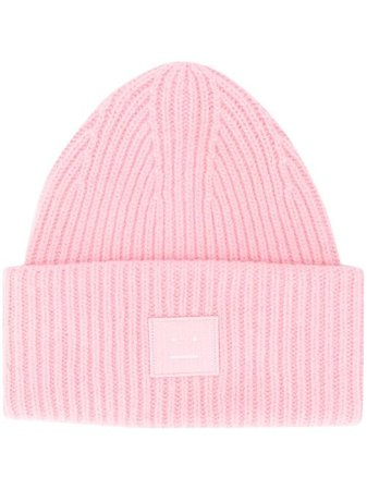 Shop pink Acne Studios Pansy N Face beanie with Express Delivery - Farfetch