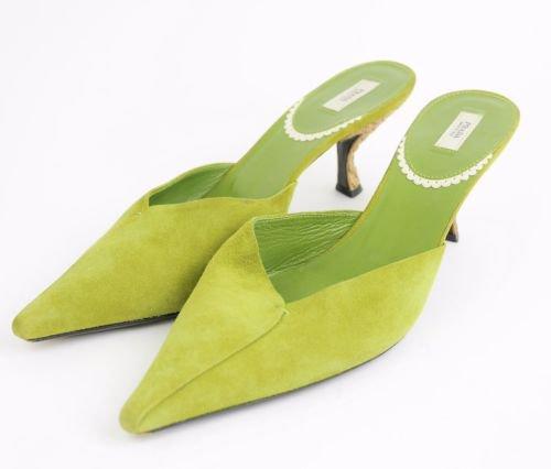 PRADA Lime Green Suede Leather Kitten Heels Mules Classic Slide Shoes WOMENS 7.5   eBay