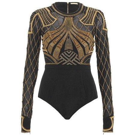 Black & Gold Embellished Bodysuit