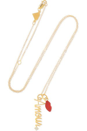 Alison Lou | Amour 14-karat gold, diamond and enamel necklace | NET-A-PORTER.COM