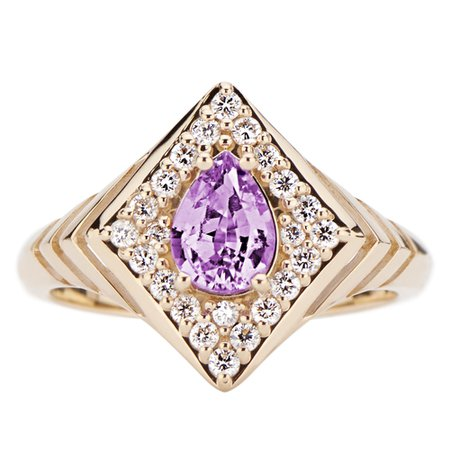 Regalo Purple Sapphire Pear Shaped Signet Ring with Diamonds in 14k Yellow Gold by GiGi Ferranti