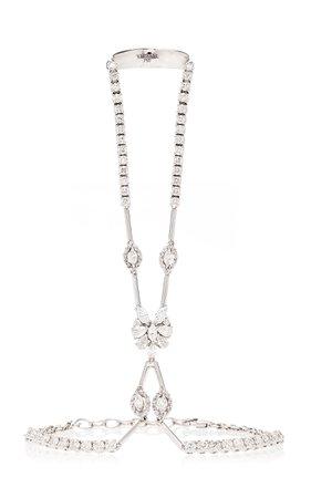 Yeprem 18K White And Diamond Ring And Bracelet Chain