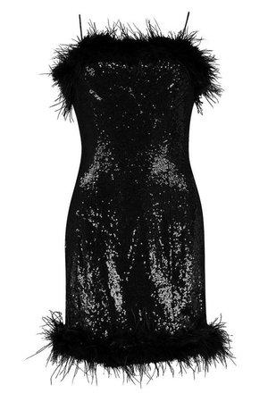 Sequin Feather Trim Mini Dress | Boohoo