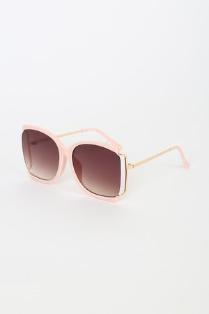 Retro-Inspired Sunglasses - Semi-Rimless Sunnies - Pink Sunnies