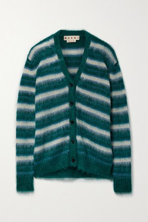 Striped Brushed Mohair-blend Cardigan - Green