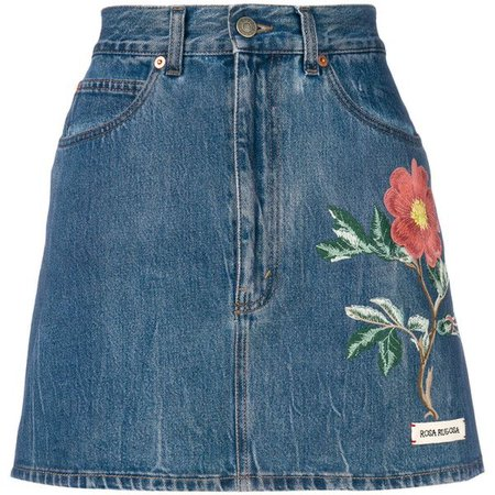 GUCCI Floral Embroidery Denim Skirt