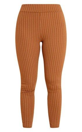 Camel Pinstripe Check Skinny Pants | PrettyLittleThing USA