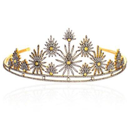 Buy Bridal Crown Tiara 21ct Rose Cut Diamond Yellow Topaz Silver