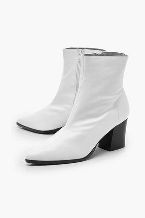 Pointed Toe Low Block Ankle Boots | Boohoo