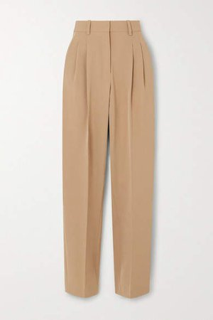 Wool-blend Twill Straight-leg Pants - Beige