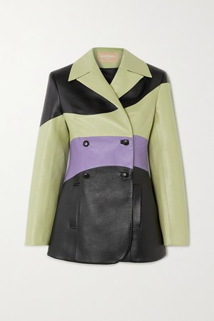 Light green Color-block double-breasted faux leather blazer | MATERIEL | NET-A-PORTER