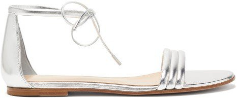 Ankle-tie Metallic Leather Sandals - Silver