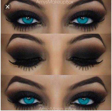 blue eyes black eyeshadow