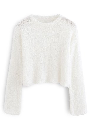 Cropped Fluffy Hollow Out Knit Sweater in White - Retro, Indie and Unique Fashion