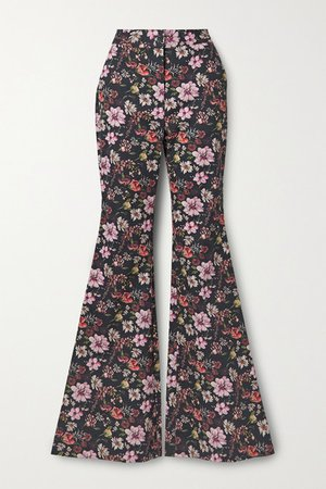 Floral-print Cotton-twill Flared Pants - Black
