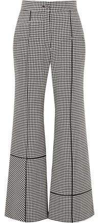Leather-trimmed Houndstooth Wool Wide-leg Pants