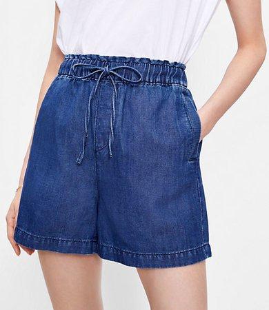 The Cotton Linen Denim Pull On Short in Dark Indigo