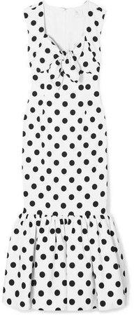 Tie-detailed Polka-dot Cotton-blend Maxi Dress - White