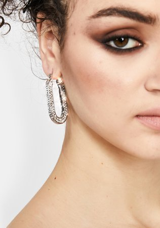 Rhinestone Loop Drop Earrings -Silver | Dolls Kill