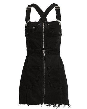 Overall Black Denim Dress