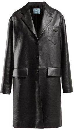 Logo Plaque Single Breasted Leather Coat - Womens - Black
