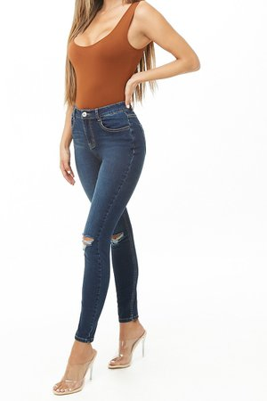 Ripped Knee Skinny Jeans   Forever 21