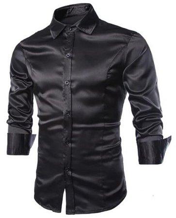 [41% OFF] 2019 Men's Casual Shirts Long Sleeve Turndown Collar In BLACK   DressLily