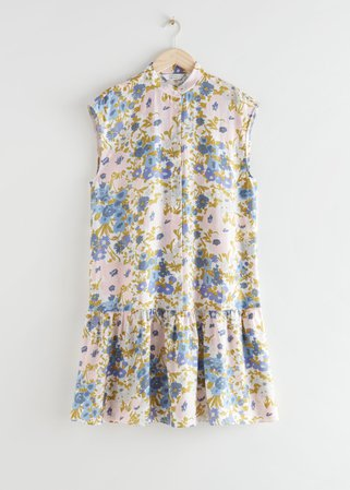 Voluminous Buttoned Midi Dress - Blue Florals - Midi dresses - & Other Stories