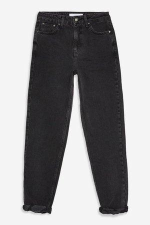 Wash Black Rip Hem Mom Jeans   Topshop
