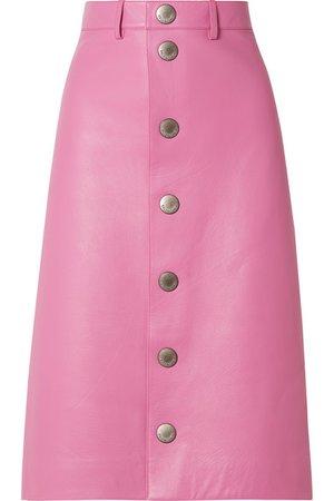 Balenciaga   Leather midi skirt   NET-A-PORTER.COM