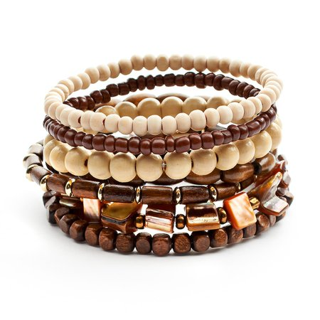 Mudd® Two Tone Wood Bead Stretch Bracelet Set | Kohls