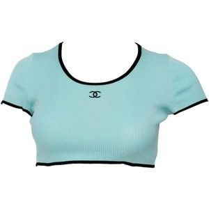 Preowned 1990s Chanel Rib Knit Cropped Top