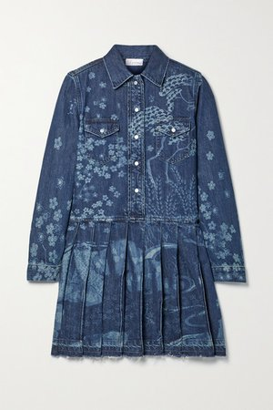 Frayed Pleated Printed Denim Mini Dress - Blue