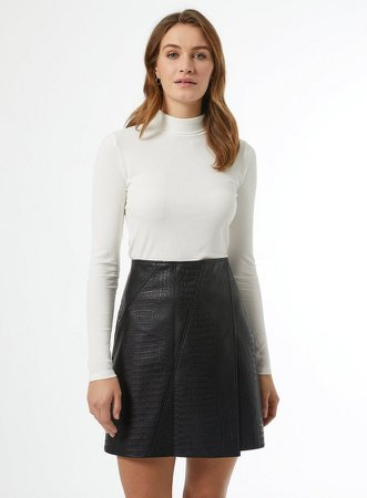 Black Textured Wrap Mini Skirt