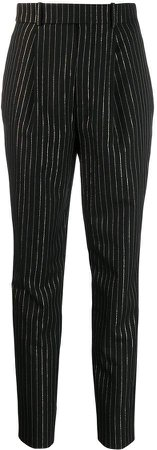 high-waisted metallic stripe trousers