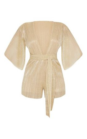 Gold Plisse Tie Front Playsuit | PrettyLittleThing