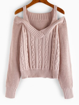 [24% OFF] 2020 ZAFUL Cold Shoulder Cable Knit Sweater In PINK ROSE | ZAFUL Europe