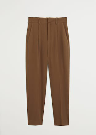 Pleated crop trousers - Women   Mango USA brown