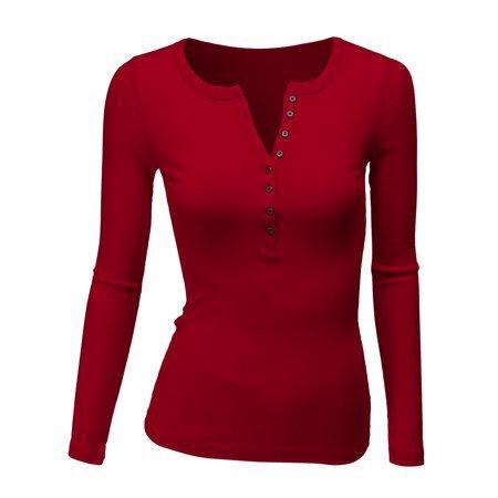 Doublju - Doublju Women's Womens Long Sleeve Henley Shirts Round Neck Long Sleeve Button Down Casual Blouse Tops Plus Size WHITE L - Walmart.com
