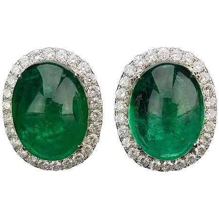 Zambian Emerald Cabochon and Diamond Studs Earring For Sale at 1stDibs