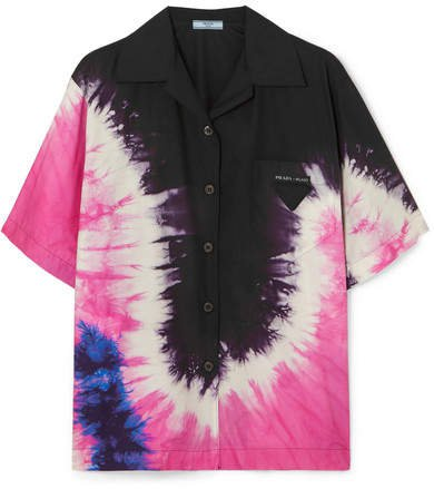 Tie-dyed Cotton-poplin Shirt - Black