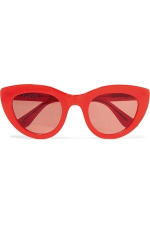 GANNI   Cat-eye acetate sunglasses   NET-A-PORTER.COM