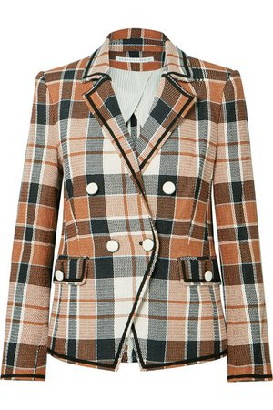 Veronica Beard | Utah double-breasted checked cotton and linen-blend blazer | NET-A-PORTER.COM